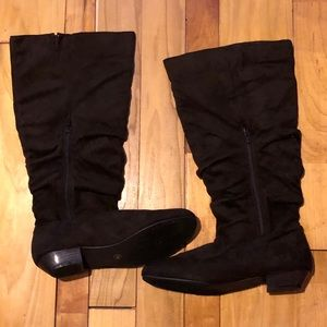 Shoes - Brown Thigh High Boots for Wide Calf, Size 11W